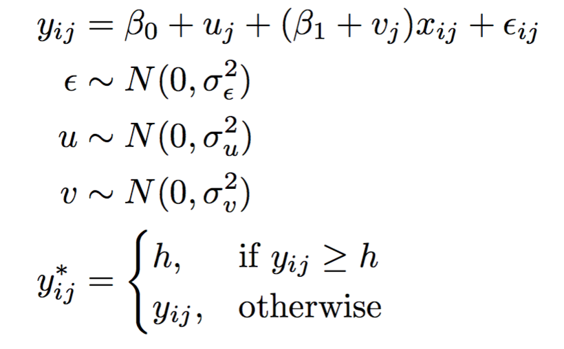 [Image: Algebra for the Multilevel Tobit model]